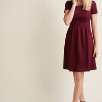 Textured A-Line Dress with Square Neckline in Wine