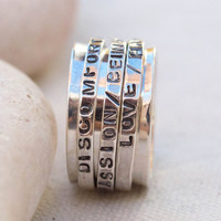 Personalized ring, Spinner ring , 3 band spinner ring, Hand Stamped Ring , Worry ring, Anxiety ring ,Sterling silver spinne ,Meditation ring