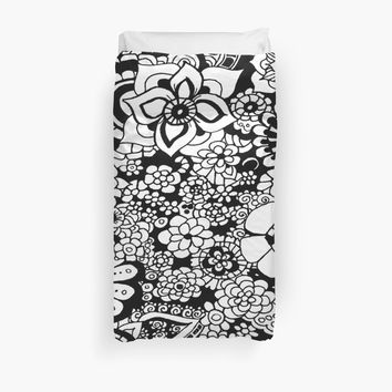 'Flower Shower Abstract Black and White Monochrome Pattern' Duvet Cover by Suzeology