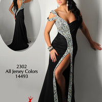 One Shoulder Beaded Ritzee Originals Evenings Pageant Dress 2302