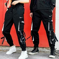 NIKE New fashion letter hook print couple tooling pants Black