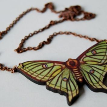 Green Luna Moth Necklace