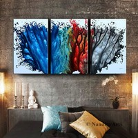 Large Painting Blue Abstract Wall Art triptych Modern Painting Luxury Style Red Teal Gray Original Canvas Art Home Decor by Nandita Albright