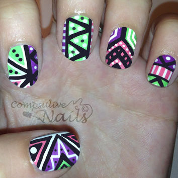Nail polish strips. TWO SETS of nail decal wraps. Neon Zig Zag nail art patten.