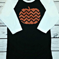 Womens Glitter Chevron Pumpkin Baseball Raglan T-shirt - Halloween T-shirt - Thanksgiving T-shirt - 3/4 Sleeve