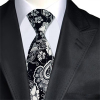 Black and White Floral Men's Tie