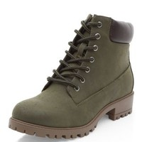 Khaki Contrast Cuff Lace Up Boots