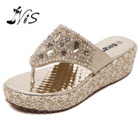 NIS 2017 Woman Bling Rhinestones Wedges Sexy Flats Flip Flops Lady Shoes Leather Crystal Platform Sandals with Lace Fashion