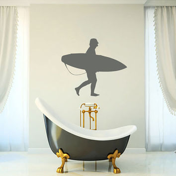 Surfboarder Boy Sportsman Vinyl Decal Wall Sticker Art Design Living Room Bathroom Modern Bedroom Nice Picture Home Decor Hall ki35