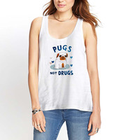 Pugs Not Drugs Womens Tank Top *
