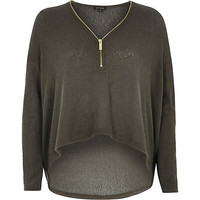 River Island Womens Khaki knitted zip front top