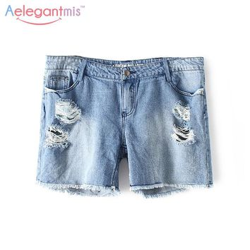 Special Offer Aelegantmis Blue Hole Denim Shorts Women Summer Casual Ripped Jeans Shorts Loose Destroyed Fringe Shorts Rivet