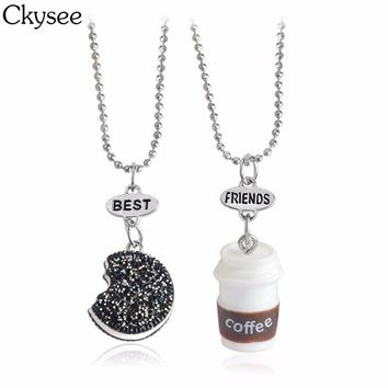 Ckysee 2pcs/set Coffee Cup Black Cookie Pendant Necklaces Friendship Collar Best Friends Charm BFF Chain Necklace For Friends