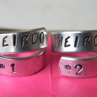 weirdo number 1 and weirdo number 2  set of two aluminum swirl rings for bbf