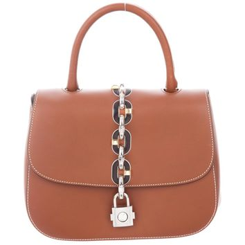 Louis Vuitton New Cognac Leather Kelly Style Top Handle Satchel Evening Flap Bag