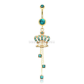 Golden Juicy Crown Sparkle Belly Ring (Teal)
