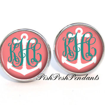 Anchor Monogram Earrings, Coral Monogram Stud Earrings, Monogram Jewelry  (468)