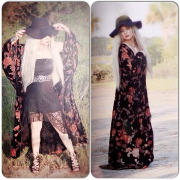Black burnout rosa velvet Kimono, Geisha Kimono Wrap for summer, Womens trends, True rebel clothing