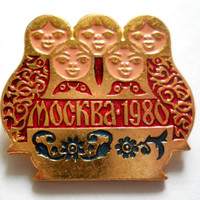 Matrioshka Pin, Moscow 1980, Olympic Games Badge, Vintage USSR Rare Soviet metal collectible Pins