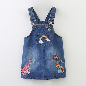 Girls Dress Spring Summer Embroidery Unicorn Children's Dresses For Girls Good Quality Denim Dress For Girl Kid Vest Dress 2-9 Y