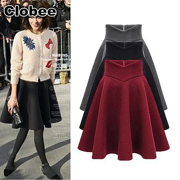 Women Wool Skirt 2017 Autumn Warm Winter High Waist thicken Pleated A Line Slim Womens Midi Skirts With Lining Faldas Saia Longa