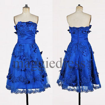 Custom Royal Blue Applique Beaded Short Prom Dresess Evening Dresees Party Dresses Wedding Party Dress Homecoming Dresses Cocktail Dresses