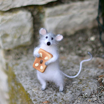 Knitted White Mouse Gift Ideas for her, birthday, Sweet present, Art Sculpture Animal, Home Decor, Holidays gift ideas