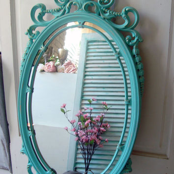 Large Aqua Vintage Ornate Mirror, HOMCO Teal Oval Mirror, Distressed Cottage Chic Mirror, Elegant Mirror
