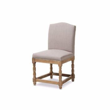 Weathered Oak Finish Wood and Beige Fabric Upholstered Dining Side Chair By Baxton Studio