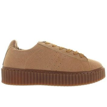 Wanted Paprika   Taupe Suede Platform Sneaker