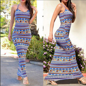 Women's Summer Style Beach Casual Loose Solid Patchwork Straps Long Maxi Dress