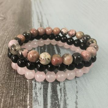 8mm Black Onyx Rhodonite Rose Quartzs Beaded Wrist Men Women Natural Stone bracelet sets Stackable Mala Bracelets