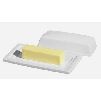 White Butter Dish with Matching Cover