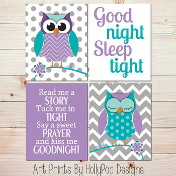 Purple Turquoise Nursery Decor Owl Nursery Wall Art Baby Girl Nursery Quad Wall Decor Toddler Girls Room Wall Art Set of 4 Prints #0976