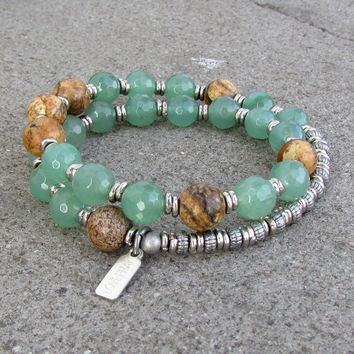 Balance and Protection, Aventurine and Jasper 27 bead wrap mala bracelet™