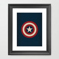Captain America Logo Minimalist Art Print Marvel Comics Framed Art Print by The Retro Inc