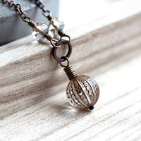 Antiqued Brass Necklace Gold and Clear Chocolate by GlitzGlitter
