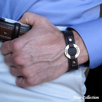 Personalized Custom Mens Leather Cuff Bracelet / Washer Engraved anniversary gift for husband