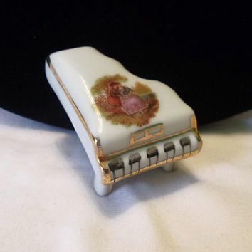 "Antique Limoges France Piano 1 3/8"" Doll House Miniature Porcelain White & Gold Fragonard"