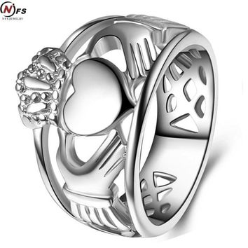 NFS Love Hand Heart Queen Crown Rings Men Stainless Steel Irish Wedding Engagement Ring Royal King Crown Knight Ring