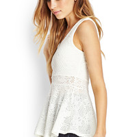Open-Knit Peplum Top