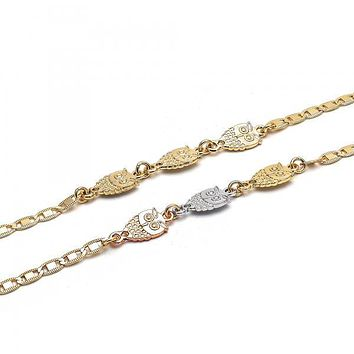 Gold Layered Fancy Anklet, Owl Design, Golden Tone