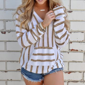 Khaki Casual Striped Hooded Sweater Sweater