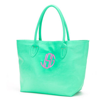 Mint Green Tote Purse Bag  - Monogrammed Personalized Purse Leather Like