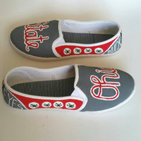 Hand Painted Ohio State Buckeyes Shoes - Womens