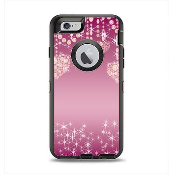 The Pink Sparkly Chandelier Hearts Apple iPhone 6 Otterbox Defender Case Skin Set