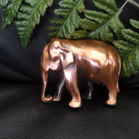 Vintage Cast Metal Copper Clad Lucky Elephant Figurine Statue Paperweight Desk Elephant and Baby Figurine