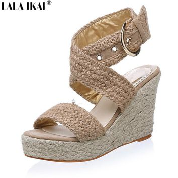 2017 Women Espadrille Wedge Sandals Summer Roman Bohemian Womens High Heels Wedges Ope