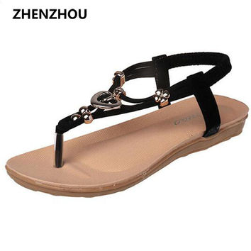 Free shipping !! summer 2016  Flip Flops Women's shoes Bohemian girl sandal thong beaded metal buckles flip-flops beach shoes