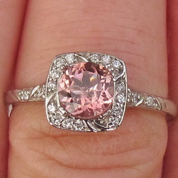 Engagement Ring Pale Peach Tourmaline in 14k Gold and Diamond Halo October Birthstone Gemstone Jewelry Morganite Alternative
